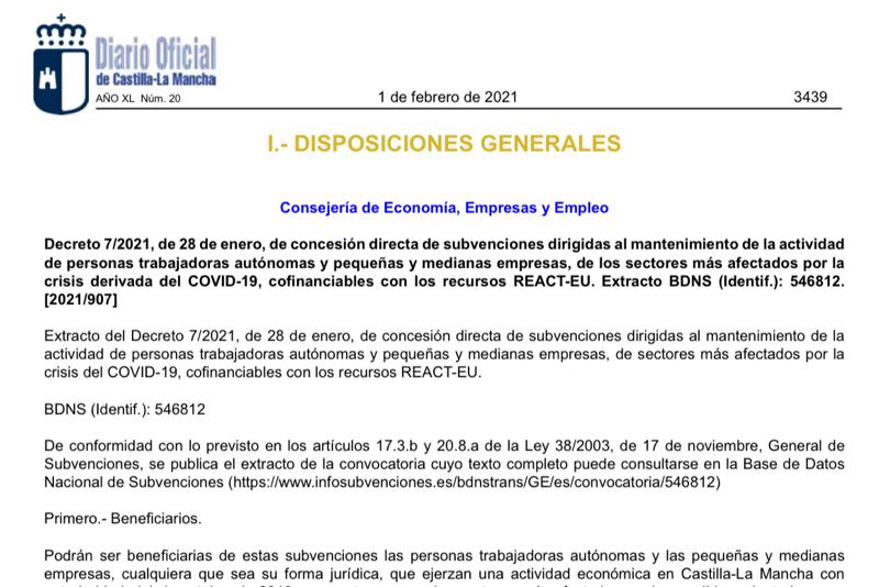 Subvención para autónomos y pequeñas y medianas empresas de la Junta de Comunidades de Castilla-La Mancha